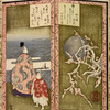 Plum blossoms and poet, folding screen