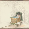 Toddler in wicker carriage