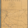 Post route map of the states of Kentucky and Tennessee, with parts of adjacent states