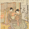 An oiran showing a pet mouse to her kamuro
