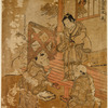 Boys at play.  One hands another a pair of geta, while a third stands upon the veranda of a house, apparently directing the game