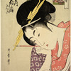 The oiran Hanaogi of Ogiya.  She is compared to the famous ninth century poetess Ono no Komachi who is represented in the small cartouche