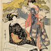 A woman standing near a stream and conversing with another woman seated on a bench (Kii no Tamagawa)
