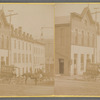 Street view of buildings with horses and wagons, and electricity poles, Ohio