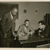 Dr. Martin Luther King, Jr. (center) being interviewed by actor and activist Harry Belafonte (right), and George Goodman, community news director at WLIB radio, New York