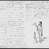 Cruikshank, George. Draft of an AL with pencil sketch at end, to Dickens