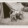 Donald Saddler and Jerome Robbins with three male dancers outside tent