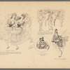 Theatrical dancers in caricatures and cartoons