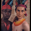 Alan Meadows and Hugh Laing in improvised fantastic Indian costumes