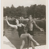 Jerome Robbins and sister Sonia dancing on Lake pier in swimsuits