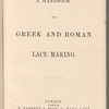 A handbook for Greek and Roman lace making