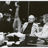 Stephen Sondheim, Harold Prince and unidentified man during rehearsals for the stage production A Little Night Music