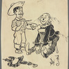 Pen and ink caricature by W. W. Denslow of himself with The Scarecrow