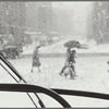 New York City, snowstorm seen from the bus, Third Avenue