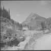 Houses in rocky mountain landscape