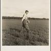 Tenant farmer spreading grasshopper bait in his alfalfa field, five miles from Oklahoma City, Oklahoma.