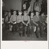Children at Halloween party, waiting for signal to come for refreshments. Shafter migrant camp, California.