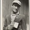 """From Oklahoma farm (April 1938) to strike leader in California. Cotton strike (Nov. 1938). He displays his union membership book. """"Vote No on No. 1"""" refers to proposed anti-picketing law which was later defeated by California electorate. Kern County, Cal."""
