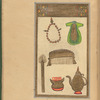 The Prophet's cloak, prayer beads, comb, ewer and basin, and toothbrush, fol. 68r