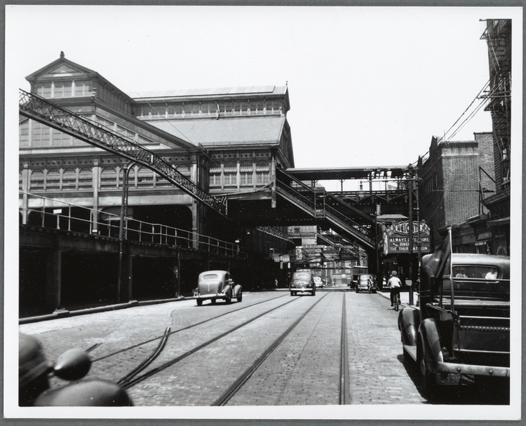 This is What Max Henry Hubacher and El station near Brooklyn Bridge Looked Like  on 7/1/1942