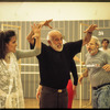 Jerome Robbins and cast rehearsing Fiddler on the Roof segment of the stage production Jerome Robbins' Broadway
