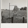 Near Hanford, California. See general caption. On U.S. 99. A member of the committee from adjoining town erects sign on the highway.