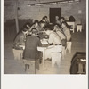Farm Security Administration (FSA) camp for migratory agricultural workers. Farmersville, California. Meeting of the camp council