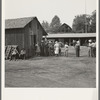 Part of the lineup at paymaster's window at noon. Hop pickers are paid off daily. Near Grants Pass, Josephine County, Oregon. General caption number 45-11