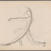 Sketch of dance figure (left knee bent and right leg straight with left arm out front and right arm overhead making a reverse C shape)