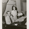"""Jay Gorney and Jan Clayton rehearsing song """"There Was a Fellow and a Girl"""" for the stage production Meet the People"""