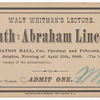 Walt Whitman's lecture: Death of Abraham Lincoln