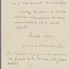 2-page letter from Cros to Fizeau discussing the 3-color photomechanical process