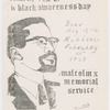 Cover of program for Malcolm X Memorial Service, February 21, 1969