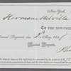 Receipt from the New-York Society Library to Herman Melville for payment of annual dues