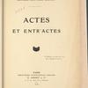 Actes et entr'actes