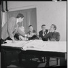 Bert Convy, John Kander, Fred Ebb and Joel Grey in rehearsal for the stage production Cabaret
