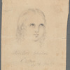 "A small portrait in pencil captioned ""Sinless Child/Eva/By H. Jenks"""