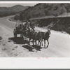 Chuck and bedroll wagon of the tank gang on the highway. Near Marfa, Texas.