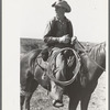 Cowboy on horse with equipment on cattle ranch near Spur, Texas.