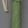 Green umbrella with a parrot-headed handle, like that carried by Mary Poppins