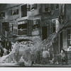 Cast scene on Catfish Row set designed by Sergei Soudeikine in the stage production Porgy and Bess