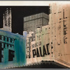 Handpainted negative photo print of buildings