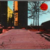 Handpainted negative photo print of street with trees