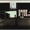 Handpainted negative photo print of Lincoln Center