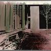 Handpainted negative photo print of street scene with tree