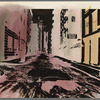 """Handpainted negative photo print of street scene with """"Consolidated Desks"""" sign visible"""