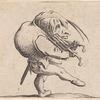 L'homme dansant en râclant un gril en guise de violon