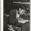 Daughter of Pomp Hall, Negro tenant farmer, studying at her desk in rural school. Creek County, Oklahoma