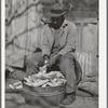 Pomp Hall, Negro tenant farmer, shelling seed corn. Creek County, Oklahoma