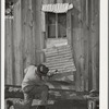 Pomp Hall, Negro tenant farmer, repairing piece of tin which covers window of his house. Creek County, Oklahoma